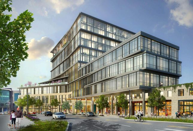 A rendering of 5 C1TY Avenue, the first office phase of ONEC1TY