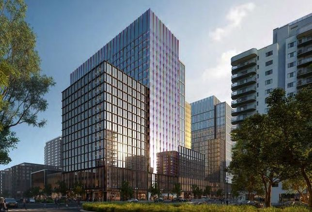 A rendering of the first phase of Amazon HQ2 development, seen from 15th and Eads streets.