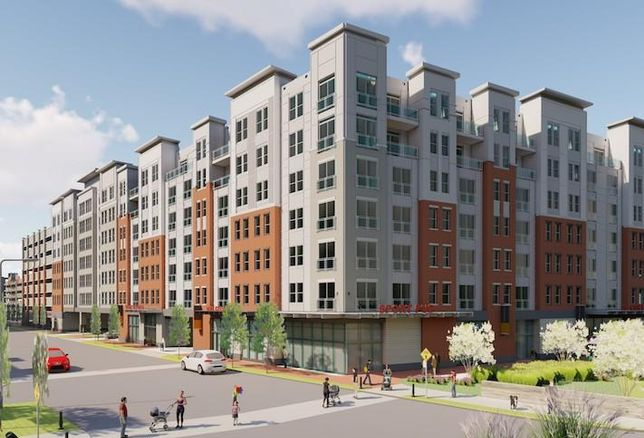 A rendering of the 300-Unit apartment building planned at Monument Realty's Liberty View project in Springfield.