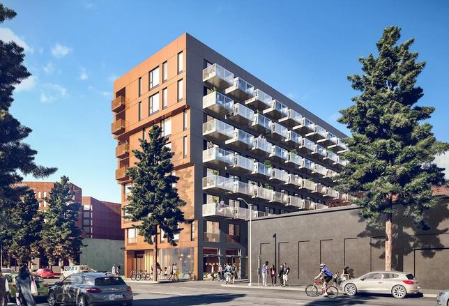Rendering of Housing Diversity Corp.'s 151-unit microunit development in South Los Angeles
