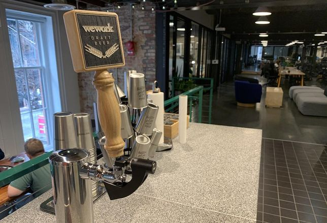 A beer tap is kept locked in a Washington, D.C., WeWork location