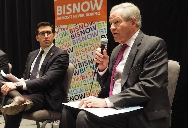 HUD Deputy Chief of Staff Alfonso Costa Jr. and NMHC President Doug Bibby at a November 2019 Bisnow event