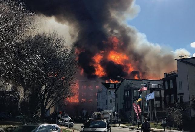 Flames engulfing the South Alex development Saturday in the Alexandria section of Fairfax County.