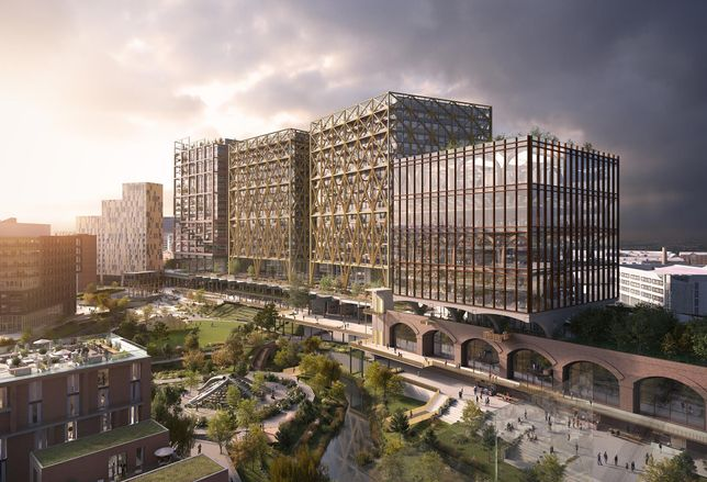 Three office blocks proposed for the Mayfield Depot site Manchester