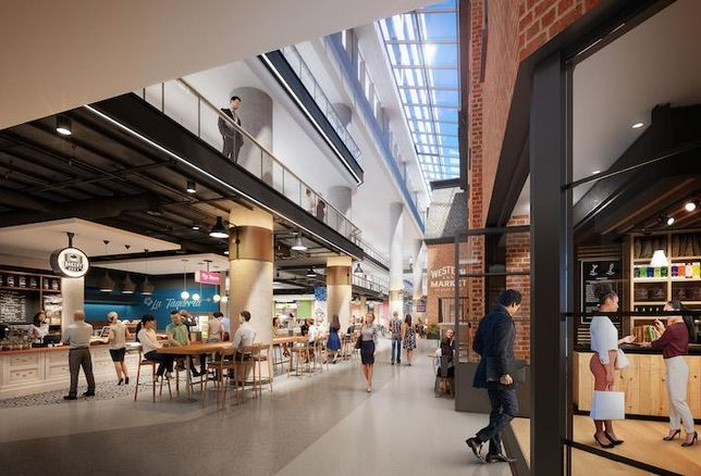 A rendering of Western Market, the food hall planned at 2000 Pennsylvania Ave. NW.