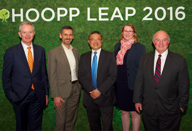 Here's Jim Keohane (left) at last week's HOOPP-hosted Leadership In Environmental Advancement Program (LEAP) conference, with City of Vancouver green building manager Sean Pander, councillor Raymond Louie and HOOPP senior portfolio manager Lisa Lafave and real estate VP Stephen Taylor.