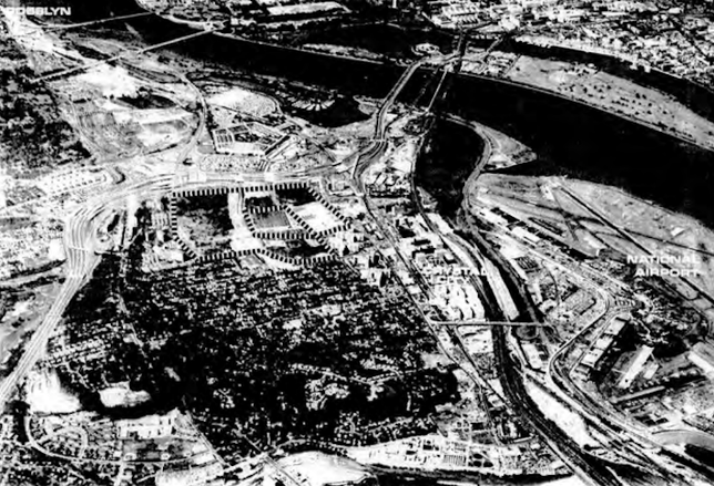 Old photo of Pentagon City and Crystal City, from the Pentagon City Master Plan of 1977