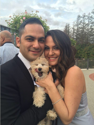 Shahin and his wife, Dr. Shiva Yazdi and dog, Baxter