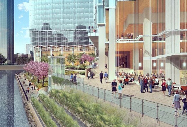A rendering of the riverfront at Wolf Point East, Chicago