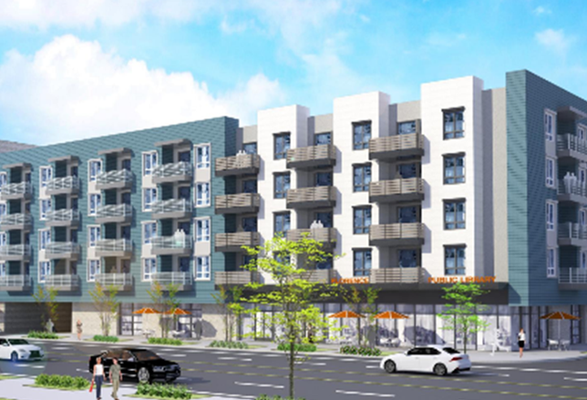 The Florence Library Apartments would have 117 units and is being built by AMCAL Multi-Housing in LA.