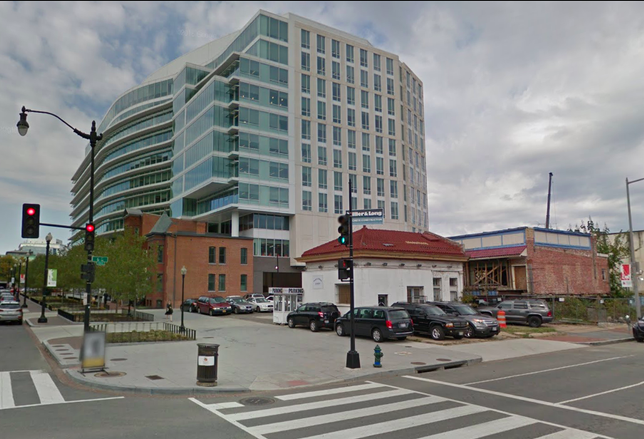 The site on the corner of 6th and K Streets NW where Douglas Development is pitching a hotel