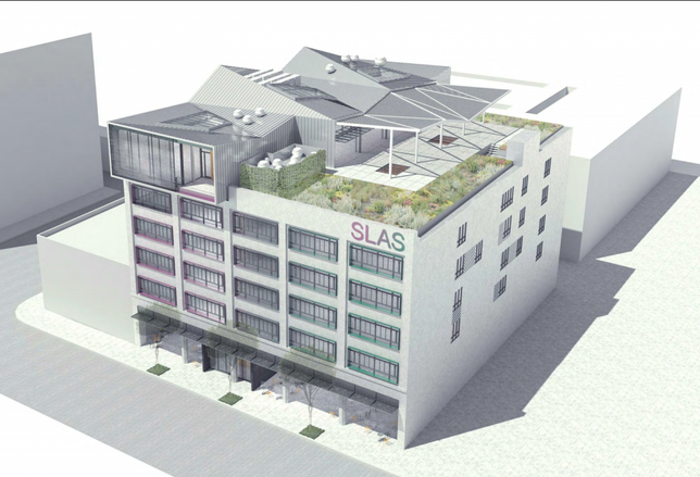 Proposed rooftop restaurant at the Norton Building in the Fashion District area of Los Angeles.