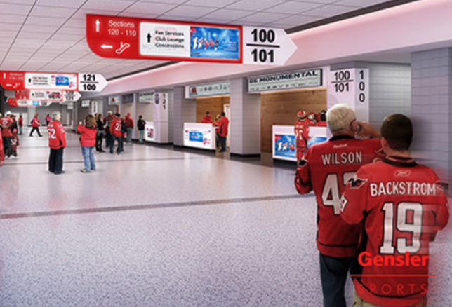 A rendering of the Capital One Arena's updated 100-level concourse