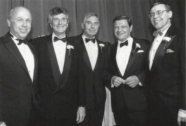 Former REBNY President Richard M. Rosan, past REBNY Chairman Bernard H. Mendik, former REBNY President D. Kenneth Patton, past REBNY Chairman Jerry Speyer and REBNY President Emeritus Steven Spinola together at a past REBNY gala