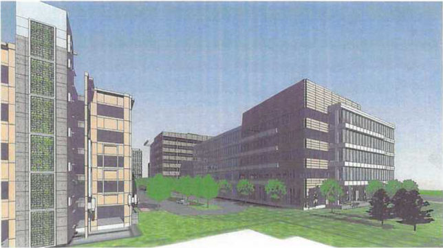 A rendering of the Liberty View office park Monument has planned near the Franconia-Springfield Metro station