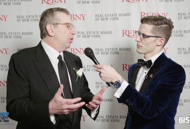 REBNY Chairman Bill Rudin is interviewed by Bisnow's Miles Bloom at the 123rd REBNY banquet, Jan. 17, 2019.