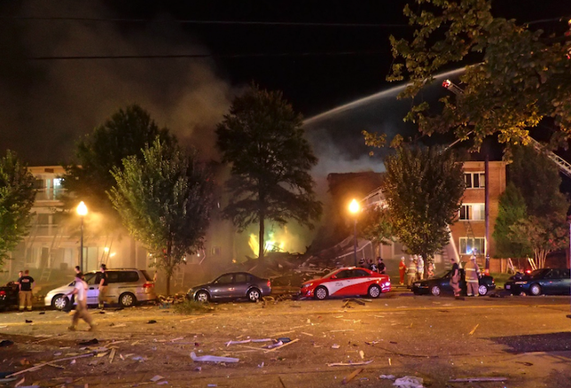The scene of the Flower Branch Apartment Complex explosion on Aug. 11, 2016