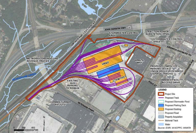 A site plan for WMATA's rail maintenance facility project in Landover