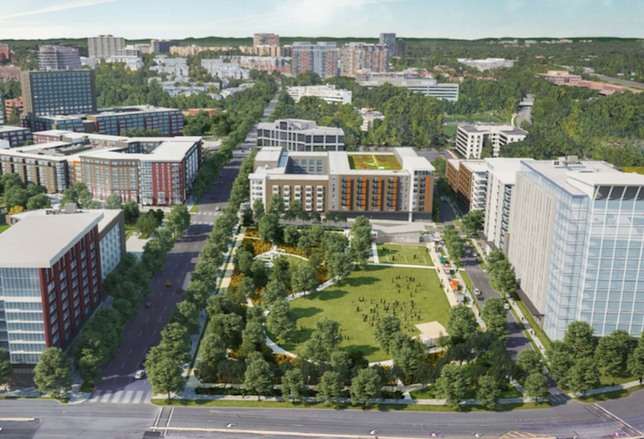A rendering of PS Business Parks' The Mile development in Tysons
