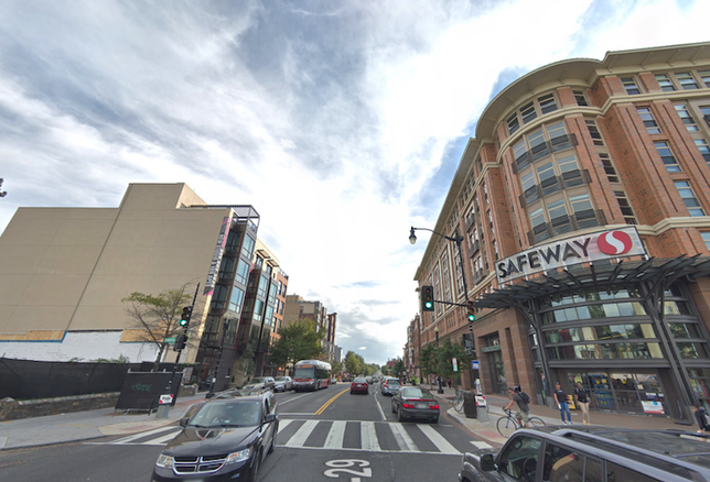 The 3800 block of Georgia Avenue, with new apartment projects on the left and the Safeway grocery store on the right