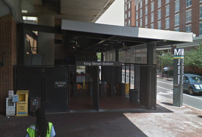 The King Street Metro station in Alexandria, shown before the platform improvement project began