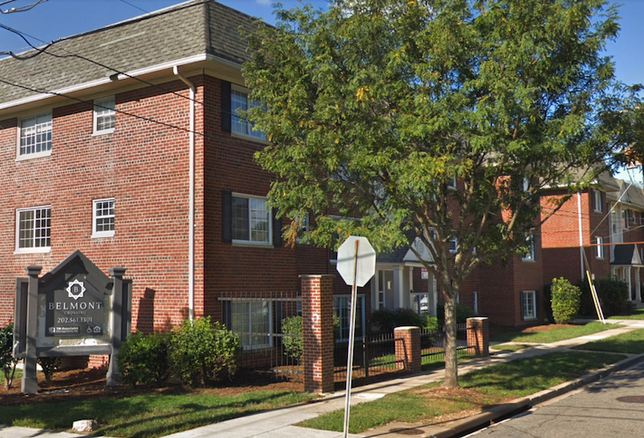 The Belmont Crossing apartments at the corner of 7th Street SE and Barnaby Road