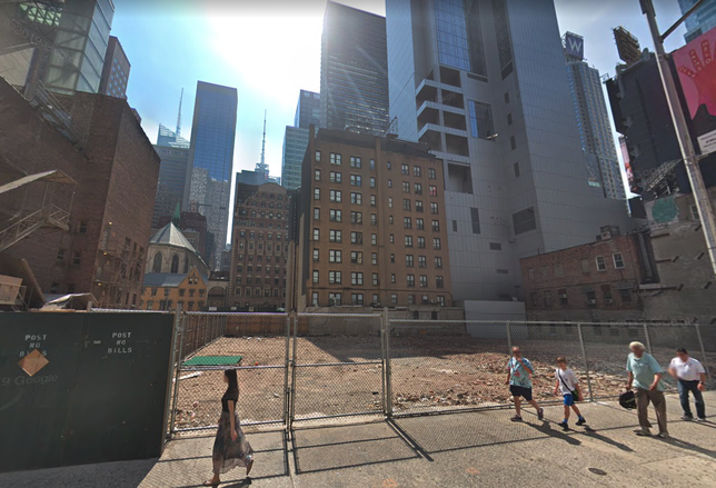 The development site at 150 West 48th St. in Midtown Manhattan
