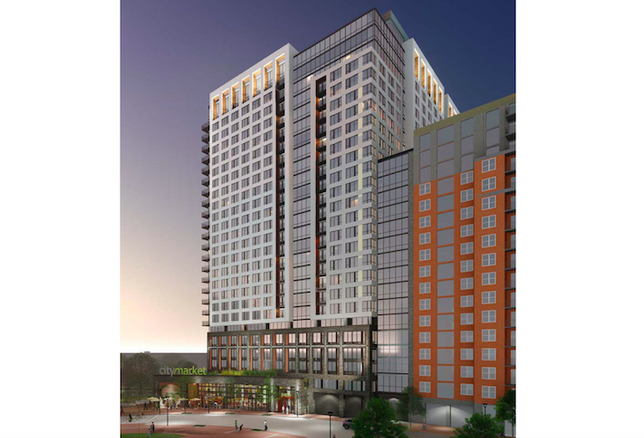 A rendering of the 26-story Solaire 8200 Dixon apartment building in Silver Spring