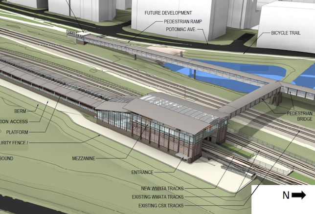 A rendering of the future Potomac Yard Metro station