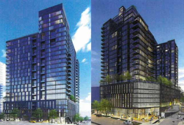 Renderings of the 26-story apartment building planned for Block D of the Scotts Run development.