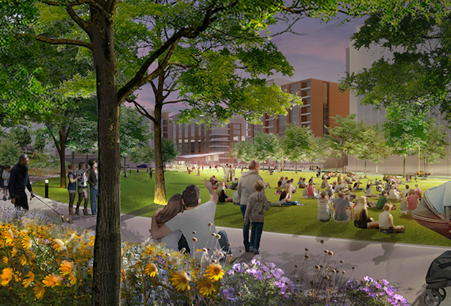 A rendering of the five-acre Signature Park planned at The Mile