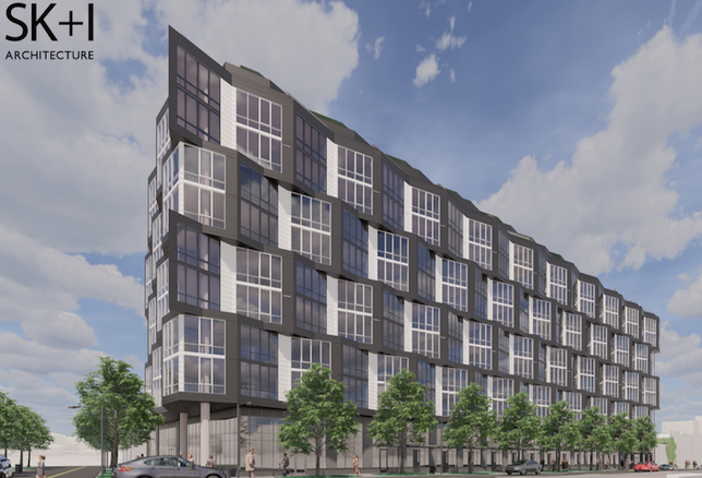 A rendering of MRP's apartment project planned on the Howard-owned site at 2133 Ninth St. NW.