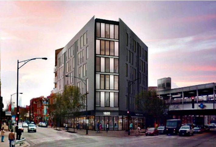 A rendering of a 50-unit TOD planned at 1920 North Milwaukee Avenue, Chicago