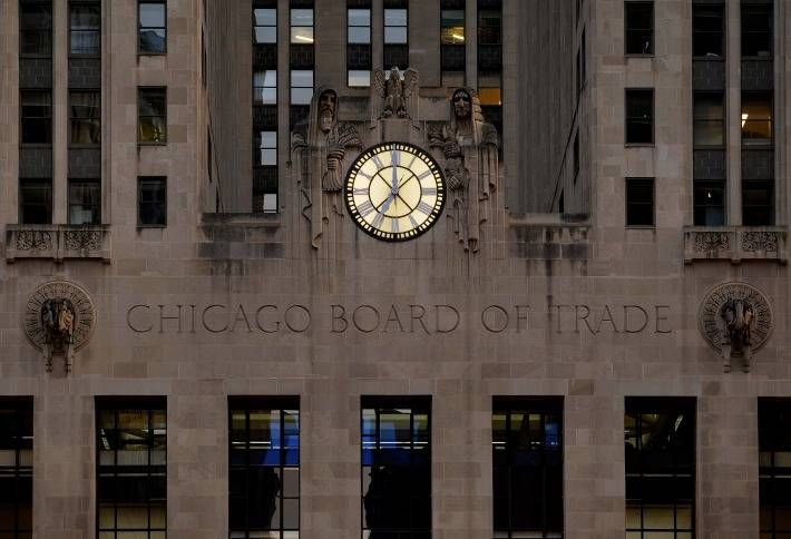 The clock facade on the Chicago Board of Trade Building