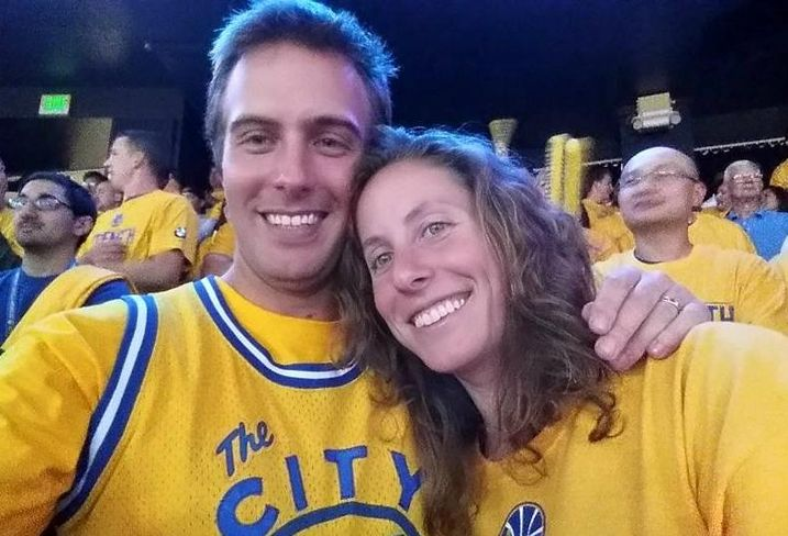 Orton Development's Nick Orton and wife, Katie, at Warriors game
