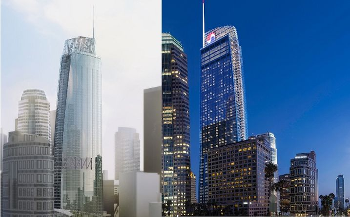 Wilshire Grand in day and night