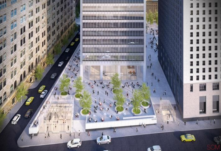 Rendering of 28 Liberty's new pedestrian and retail plaza in Manhattan's Financial District