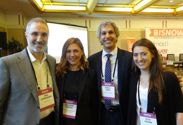 Enovity co-founder and principal Greg Cunningham, Advanced Microgrid Solutions chief commercial officer Katherine Ryzhaya and Wendel Rosen partner Don Simon ESD vice president and director of the San Francisco office Aliza Skolnik during a Bisnow event last year.