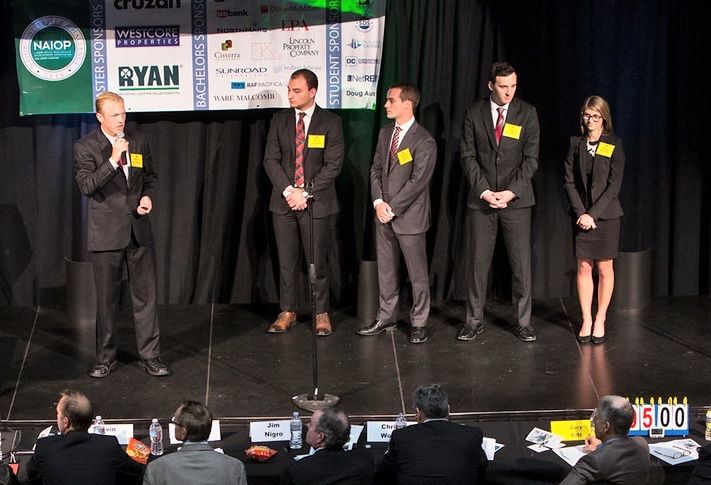 Pictured here are SDSU team members participating in the NAIOP San Diego University challenge (l-r): Andrew Rosenkranz (at mic), Marco Vaticano, Dominic Chanes, Jay Javeed and Marisa Merchant.