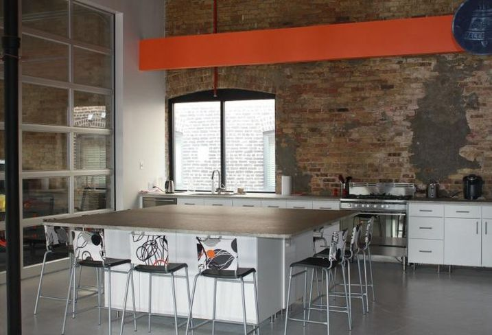 The kitchen area at Enerspace Chicago