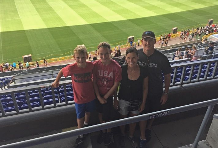 Wood Partner's Will Winkenhofer with wife Kara,daughter Savannah, and son Luke at Camp Nou, home of FC Barcelona, while on vacation in Spain.