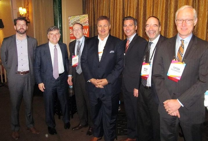 Speakers at Bisnow's DFW mixed-use event May '16: : Space Between Design Studio partner Patrick Kennedy, Corinth Properties founder Frank Mihalopoulos, Retail Properties of America VP of investments Mike Hazinski, Stellar Development principal Steve Graham, RED Development VP Jeff Moloznik, Forest City Texas president Brian Ratner and our moderator OmniPlan principal Tip Housewright