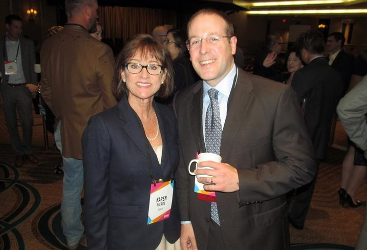 Bisnow's Karen Pierre and Retail Properties of America's Mike Hazinski at Bisnow's DFW mixed-use event May '16