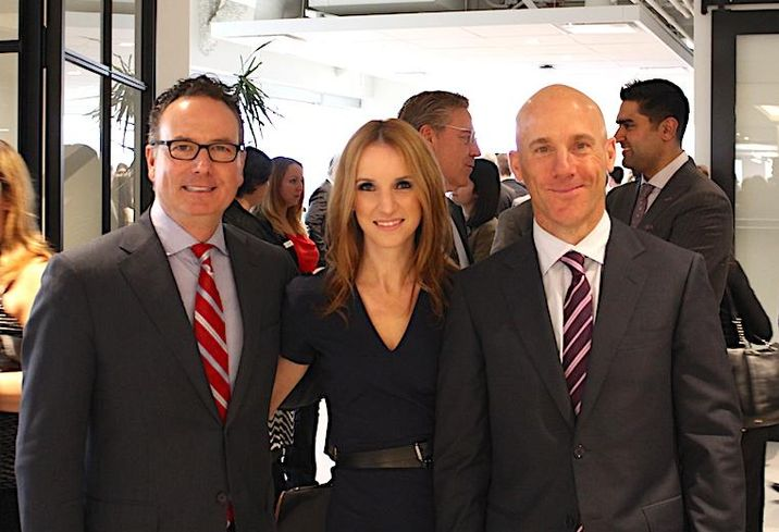 CBRE president/CEO Mark Renzoni with corporate strategy VP Ashley O'Neill and Toronto West managing director Greg Clark at last week's launch event for its Toronto West office.