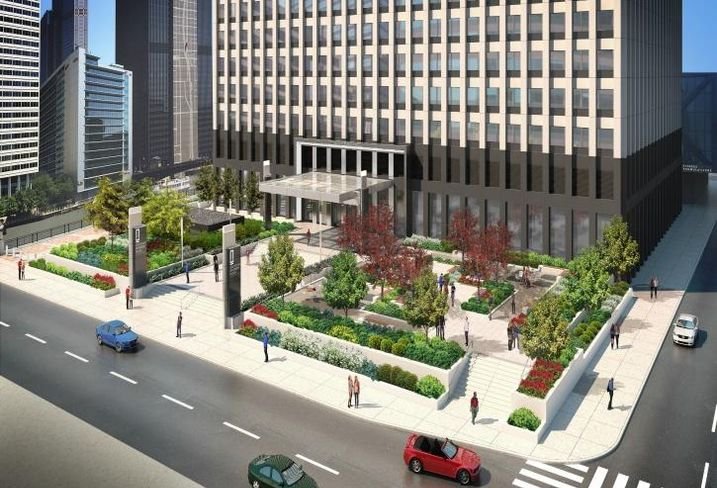A rendering of JLL's renovations to the plaza at 222 South Riverside Plaza