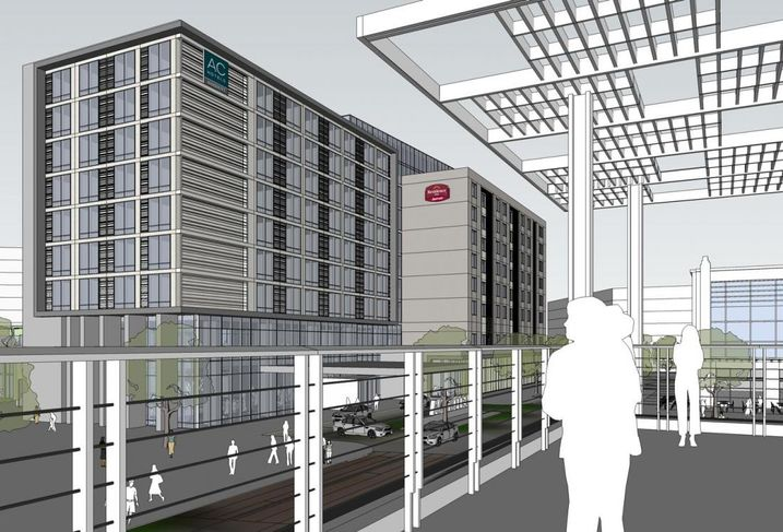 The campus will include a dual- brand AC Hotel and Residence Inn, both by Marriott, featuring about 300 rooms plus a Canopy by Hilton and a Hyatt Place, each featuring about 150 rooms.  AC and Canopy are chic lifestyle brands, while Residence is an upscale extended-stay brand and Hyatt Place is a select-service brand.