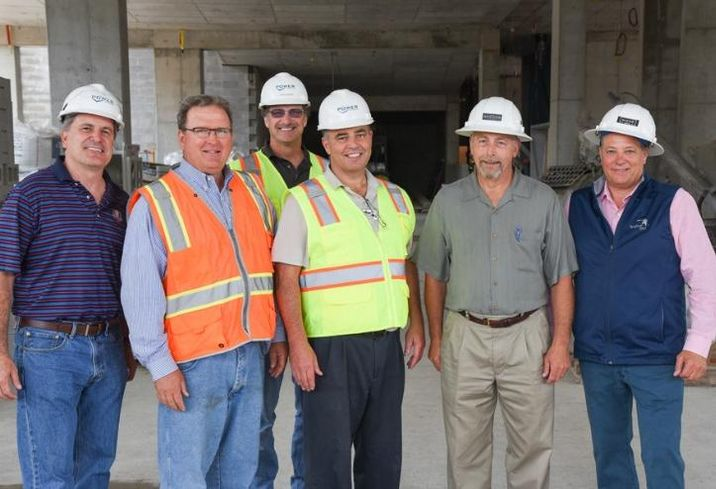 Power Constructuon VP Robert Van Deven; Ascend Real Estate president William Wolk; Power Construction superintendent Jim Glosson; Intercontinental Development construction manager Patrick O'Connor; Ascend Real Estate CEO Walter Rebenson; and Ascend Real Estate principal Joseph Salamone.