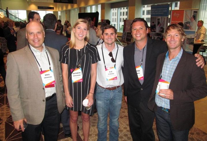 DCI's Kris Swanson and Kathryn Bergmann, TX Energy Systems' HD Perkins and Jesse Lemos and Clean Scapes' Jeff Pulley at Bisnow Austin multifamily event June 2016