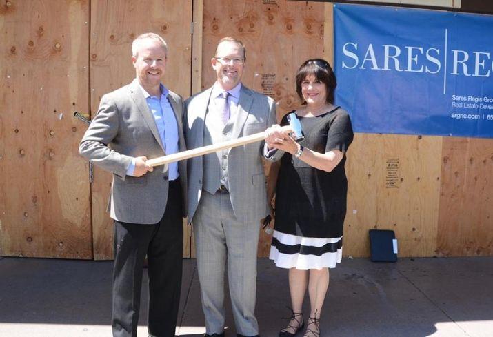 (L-R) SRGNC Senior VP of Residential Development Jeff Smith, Belmont Mayor Eric Reed, Belmont Chamber of Commerce Vice President Adele Della Santina