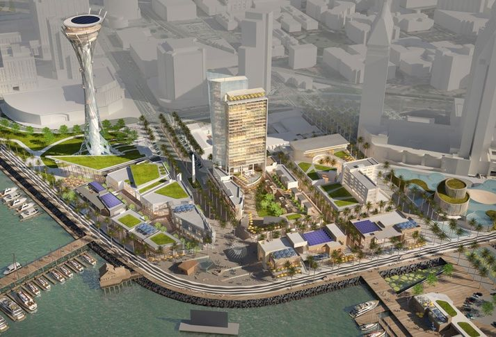 Birds-eye view of Protea Waterfront Development's plan to redevelop Seaport Village.